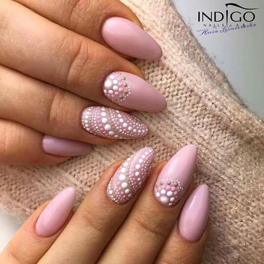 Almond Nails French, Nail Art Dots, Nail Pink