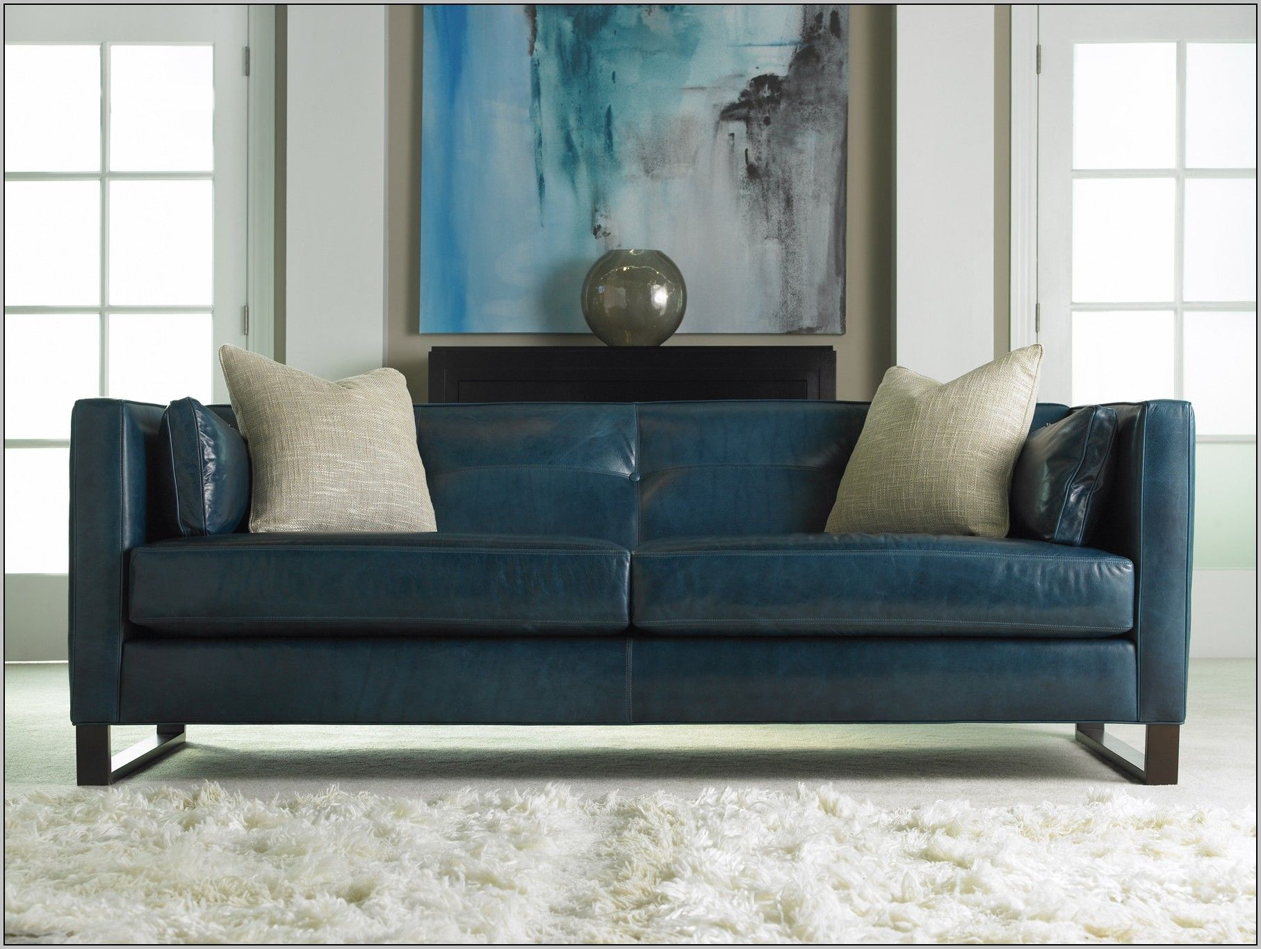 Blue Leather Sofa Ebay Blue Leather Sofa Blue Couch Living Room Small Leather Sofa