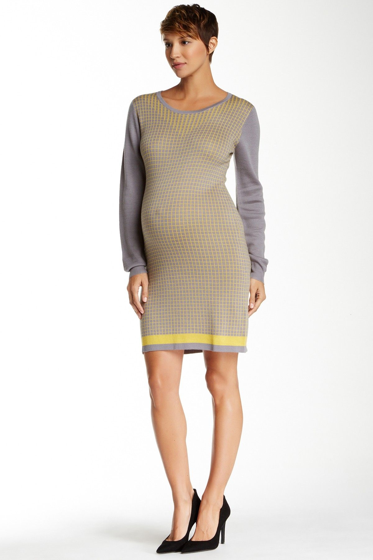 Angela checkered pattern long sleeve sweater dress by momo maternity angela checkered pattern long sleeve sweater dress by momo maternity on hautelook ombrellifo Image collections