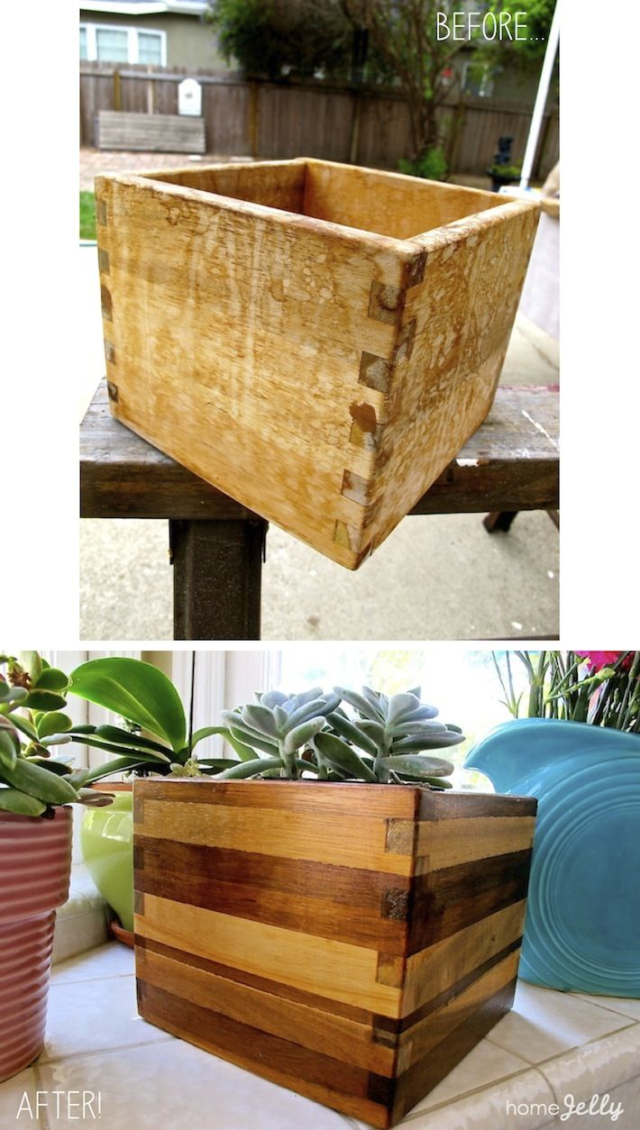 ikea wooden planter box rehab without paint before. Black Bedroom Furniture Sets. Home Design Ideas