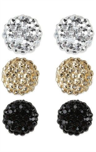 Three Pairs of Mixed Ball Stud Earrings