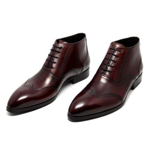 748712c4379b6 Bottines cuir pour homme avec lacets et perforations fantaisies ...