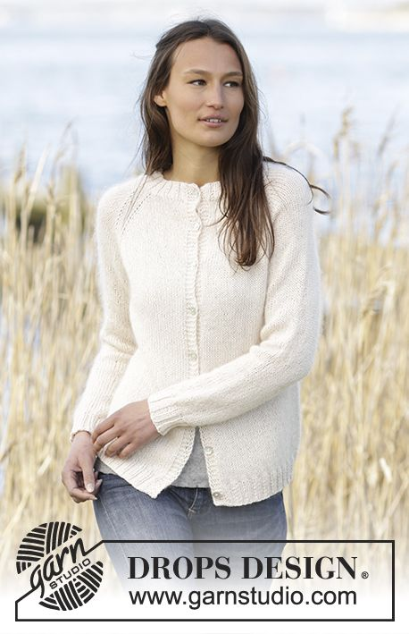 Radiant Darling Cardigan with raglan by DROPS Design. Free #knitting ...