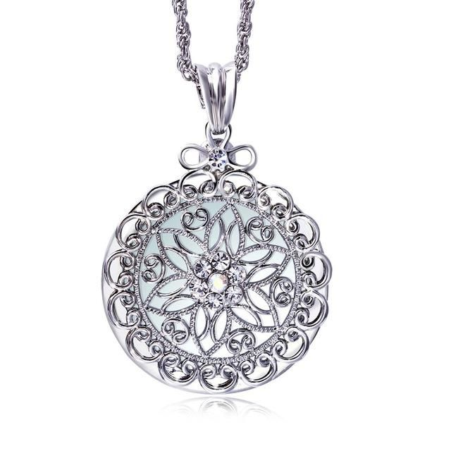 Aooaz Jewelry Material Silver Pendant NecklaceOval Hollow Chain Neckalce White Gold