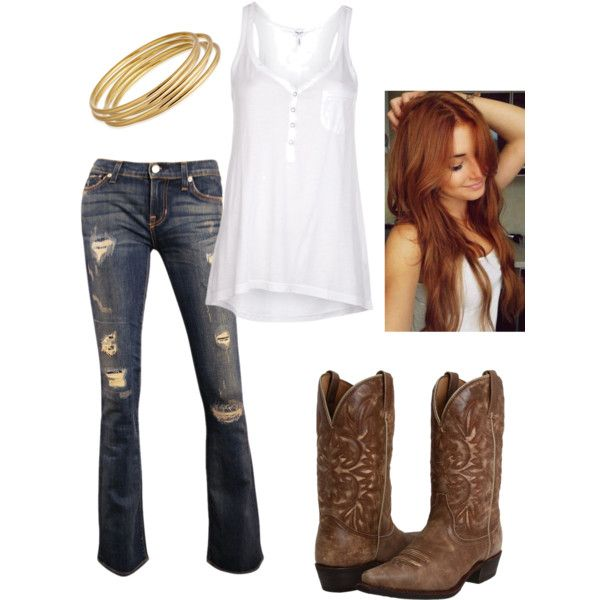 Cowgirl outfit, hair, jeans, boots, jewelry by clancy-jeriah-gloor ...