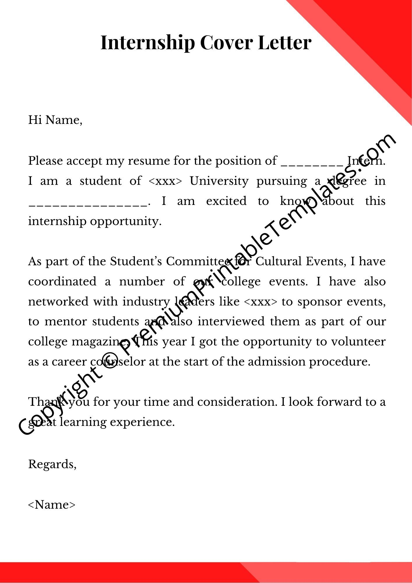 Cover Letter For Internship Cover Letter Pack Of 5 Premium Printable Templates Cover Letter For Internship Cover Letter Template Resume Cover Letter Template