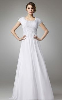 A Line Chiffon Long Wedding Dress With Empire Waist