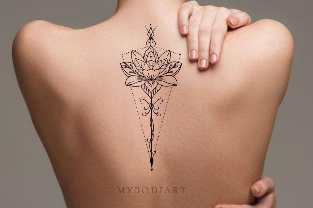 Hinto Black Tribal Bohemian Floral Flower Lotus Linework Temporary