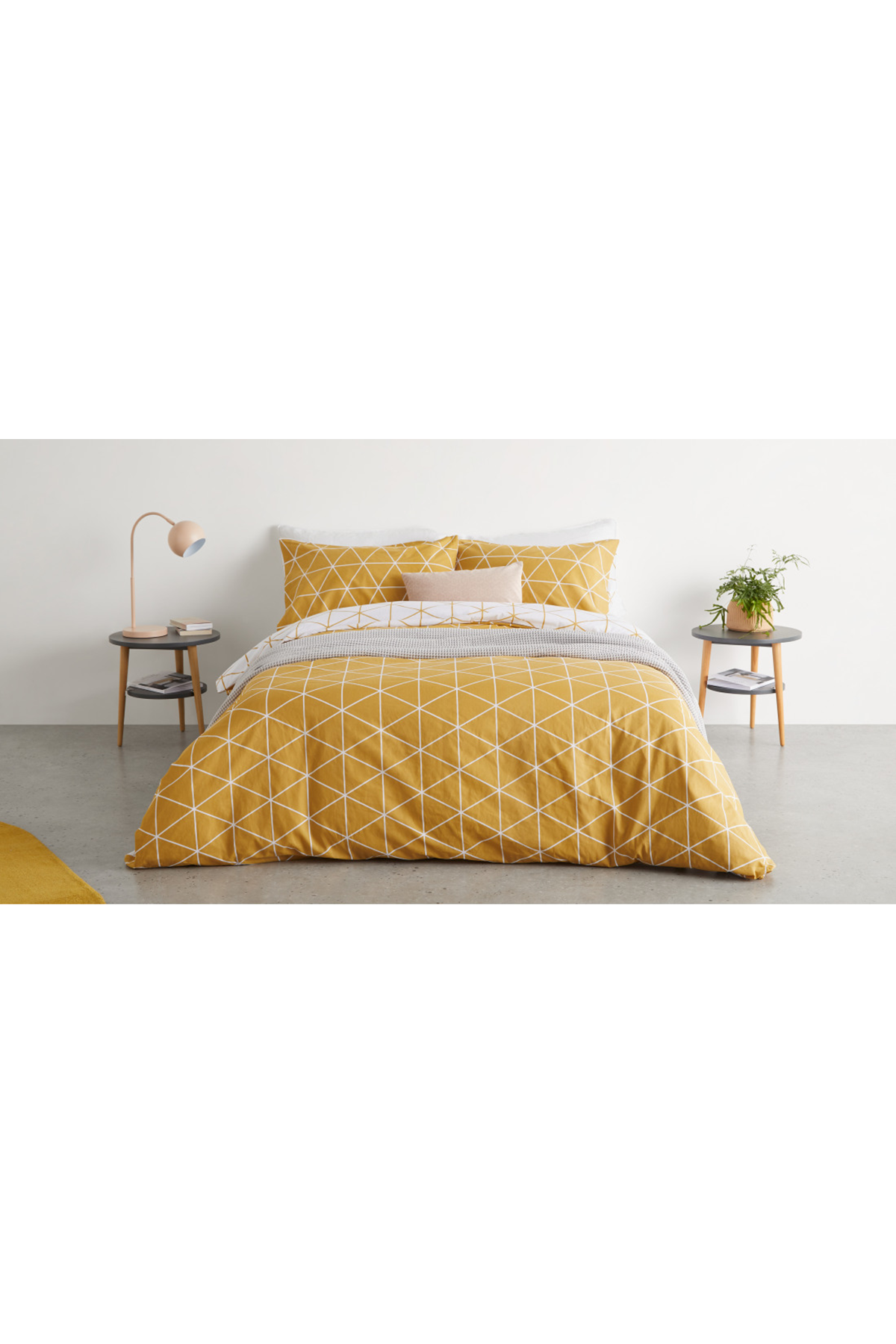 Karta Cotton Duvet Cover 2 Pillowcases Double Mustard Yellow Uk