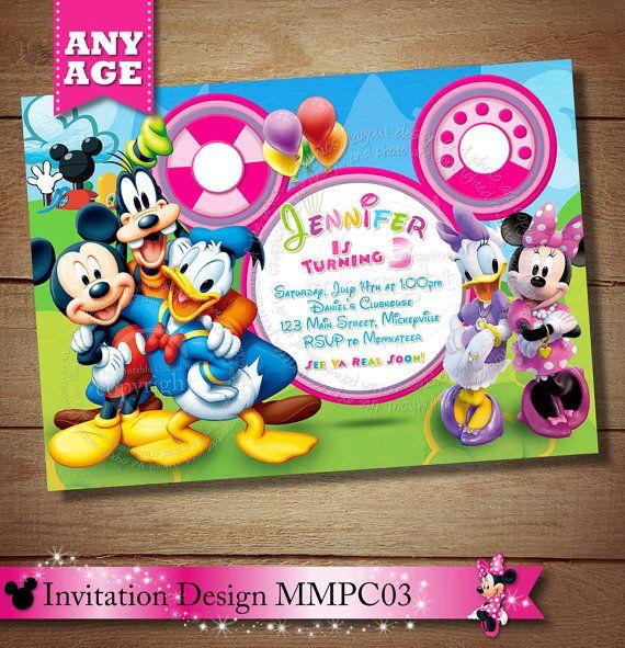 Minnie Mouse Clubhouse Invitation Mickey Minnie Daisy Donald Goofy
