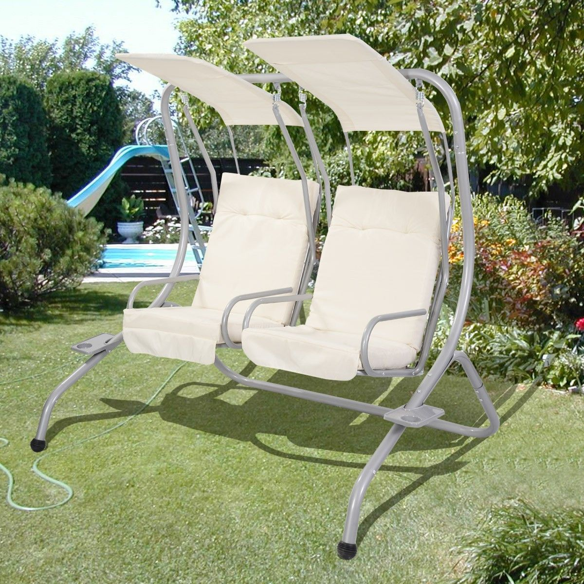 Garden Patio Seater Metal Swing Chair At £99.00