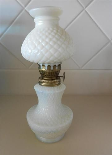 Vintage mini milk glass oil lamp diamond pattern original shade