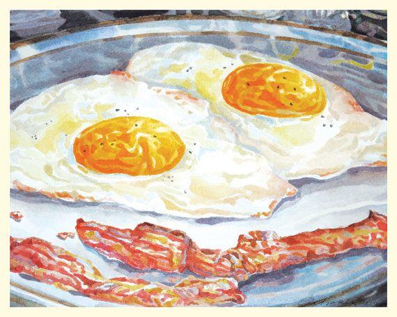 Eggs With Bacon 8 x 10 Fine Art Archival Retro by artonthemenu, $18.00