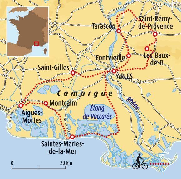 De La Provence A La Camargue Camargue Camargue Carte