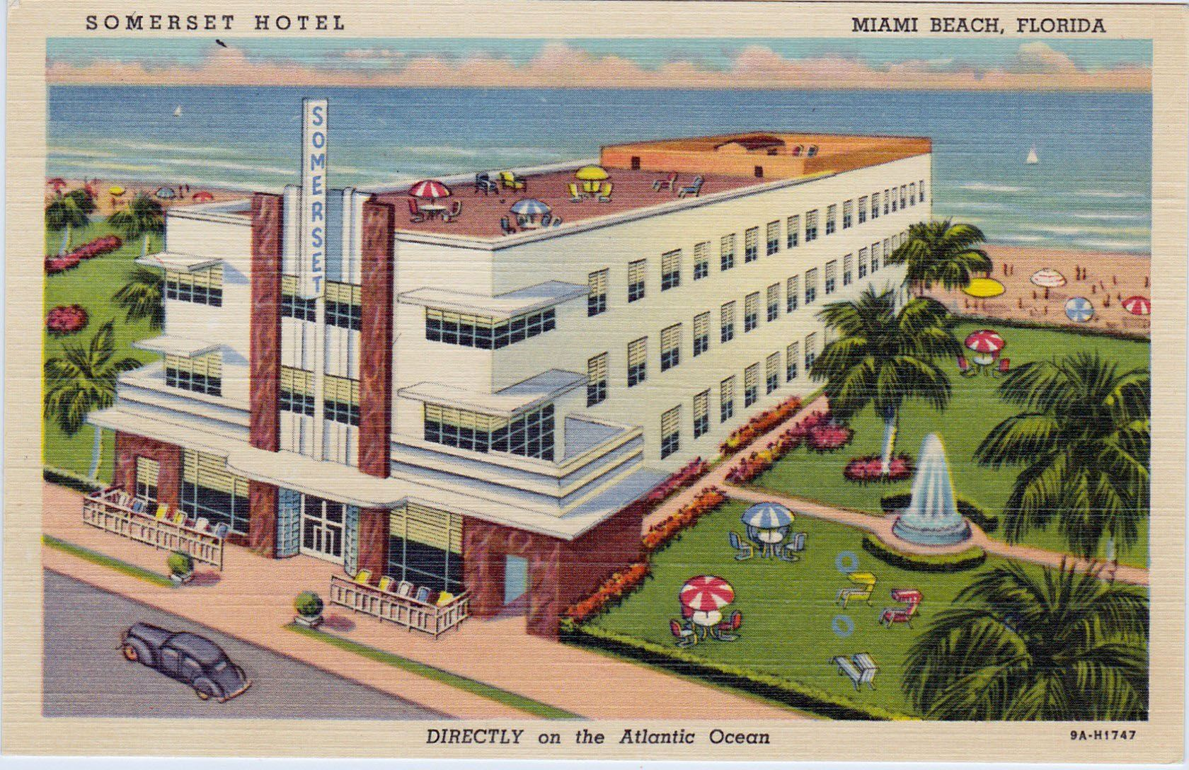 Somerset Hotel 335 Ocean Drive 1939 Features Surf Bathing From Your Room Without Crossing The Street