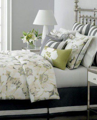 Martha Stewart Poppy Floral Lime Green Gray Reversible