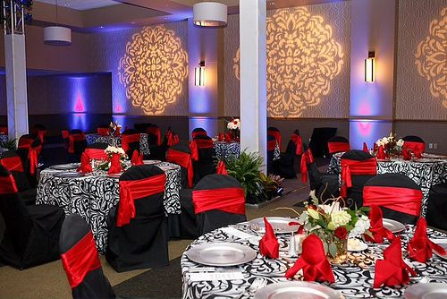 Black White Red Table Decor And Linen With Black Chair Covers W