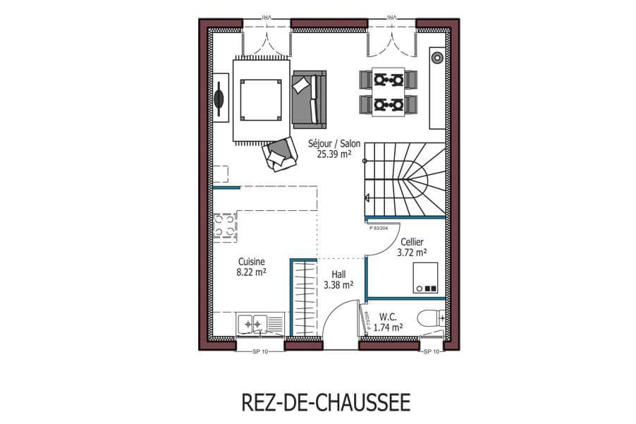 plan de maison a etage 3 chambres