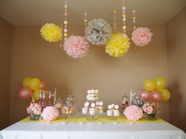 baby party deko m dchen rosa gelb pompoms cupcakes babyshower s cakes pinterest babyparty. Black Bedroom Furniture Sets. Home Design Ideas