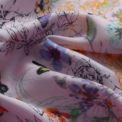 100% Silk Multi Colour Flower and Butterfly Printed Pink Colour Scarf (Size 175x50 Cm) £6.49