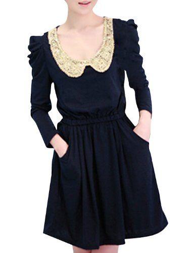 Allegra K Ladies Sequined Peter Pan Collar Long Puff Sleeve Elastic Waist Dress Allegra K http://www.amazon.com/dp/B0064VZ91Y/ref=cm_sw_r_pi_dp_IJEsub12W3F7S