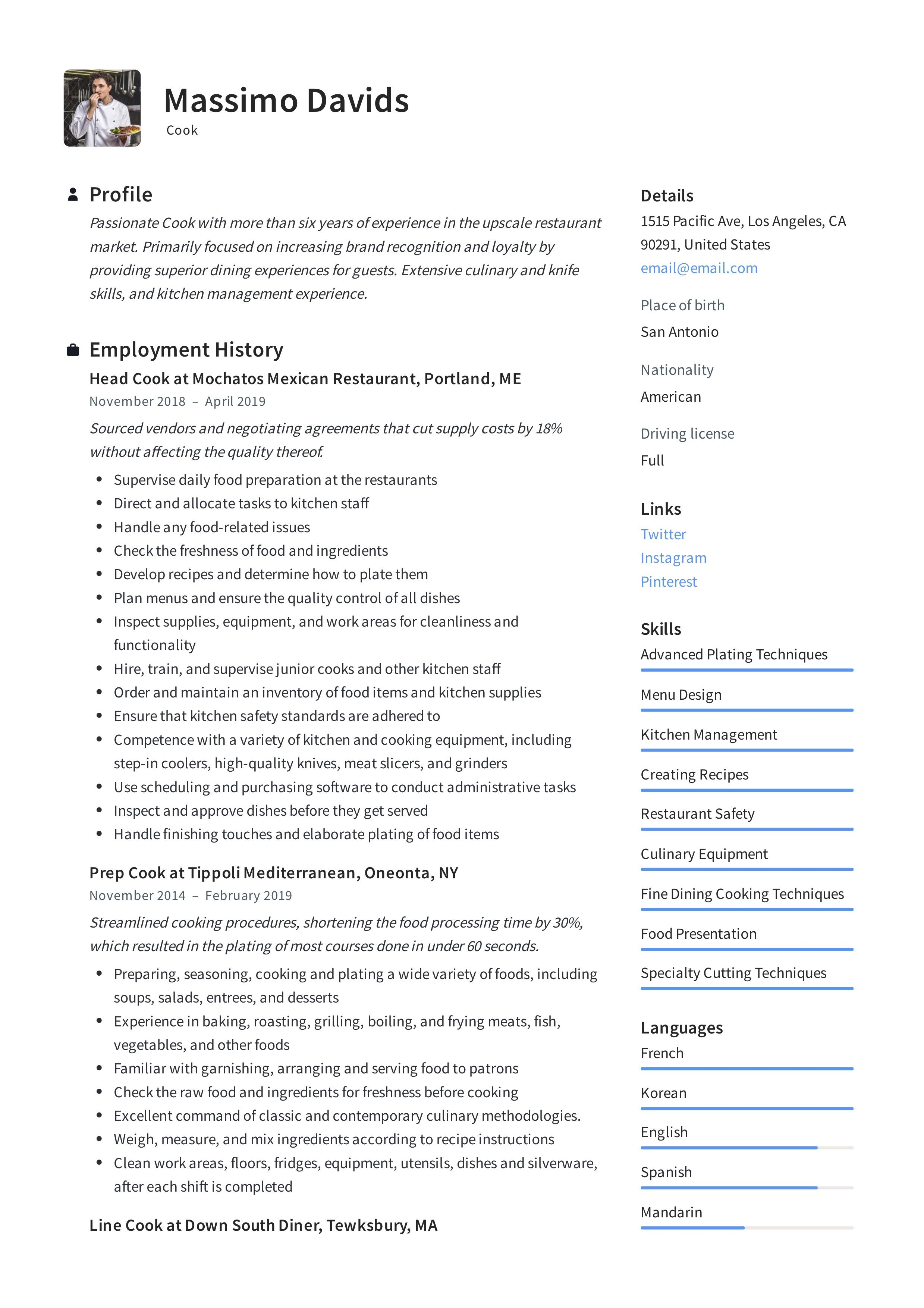 Modern cook resume template design tips examples free