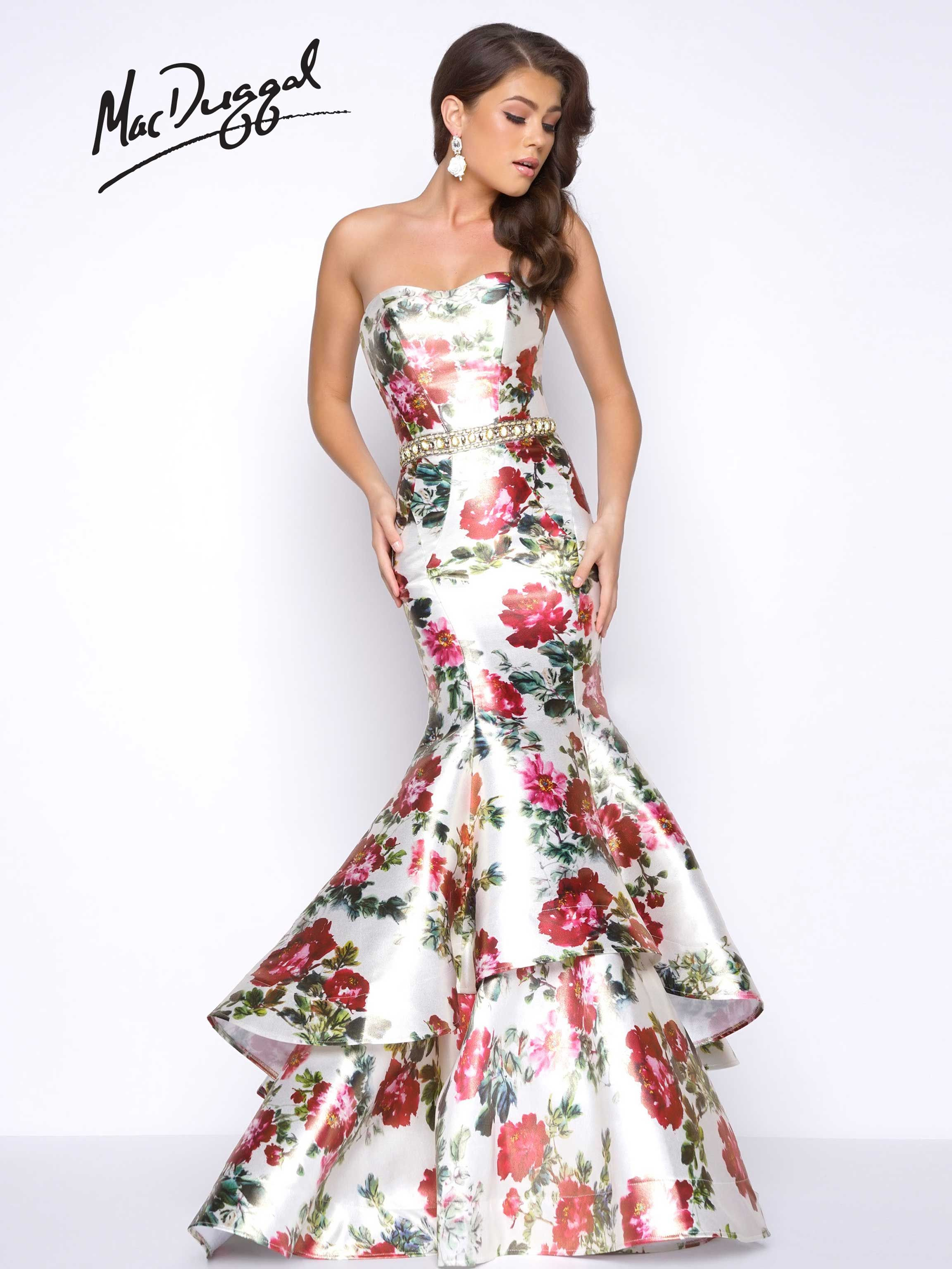 floral print, strapless, sweetheart neckline, open back, pleated