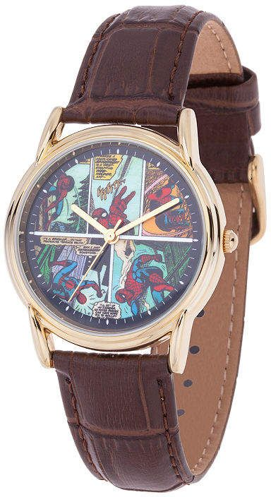 Marvel Spiderman Mens Brown Leather Strap Watch-Wma000403