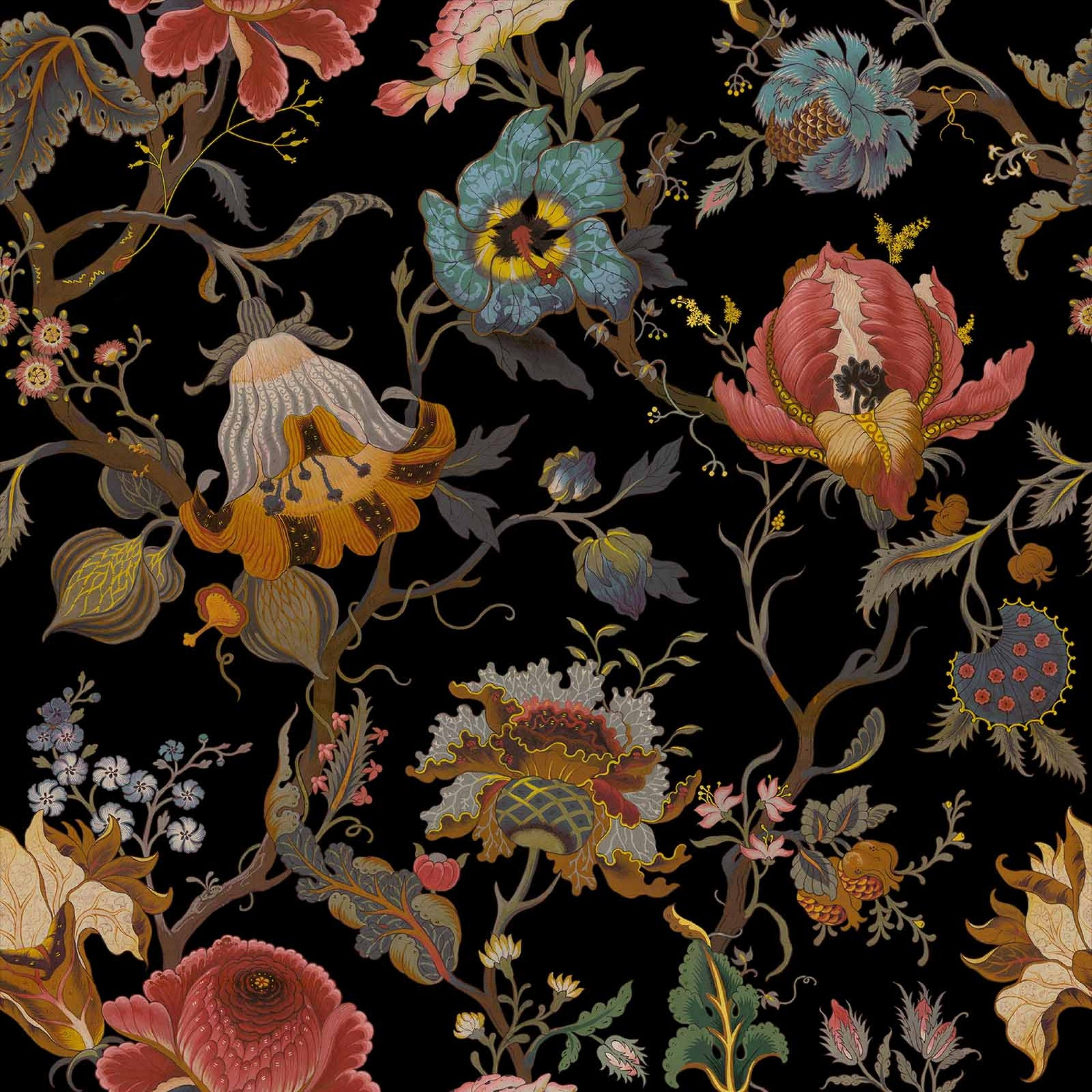 ARTEMIS Velvet Fabric Black Black wallpaper, William