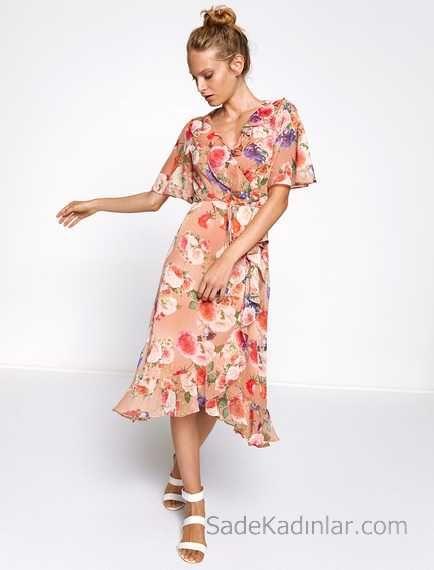 2018 Koton Elbise Modelleri Pudra Midi Kisa Kollu Cicek Desenli Elbise Modelleri Elbise The Dress