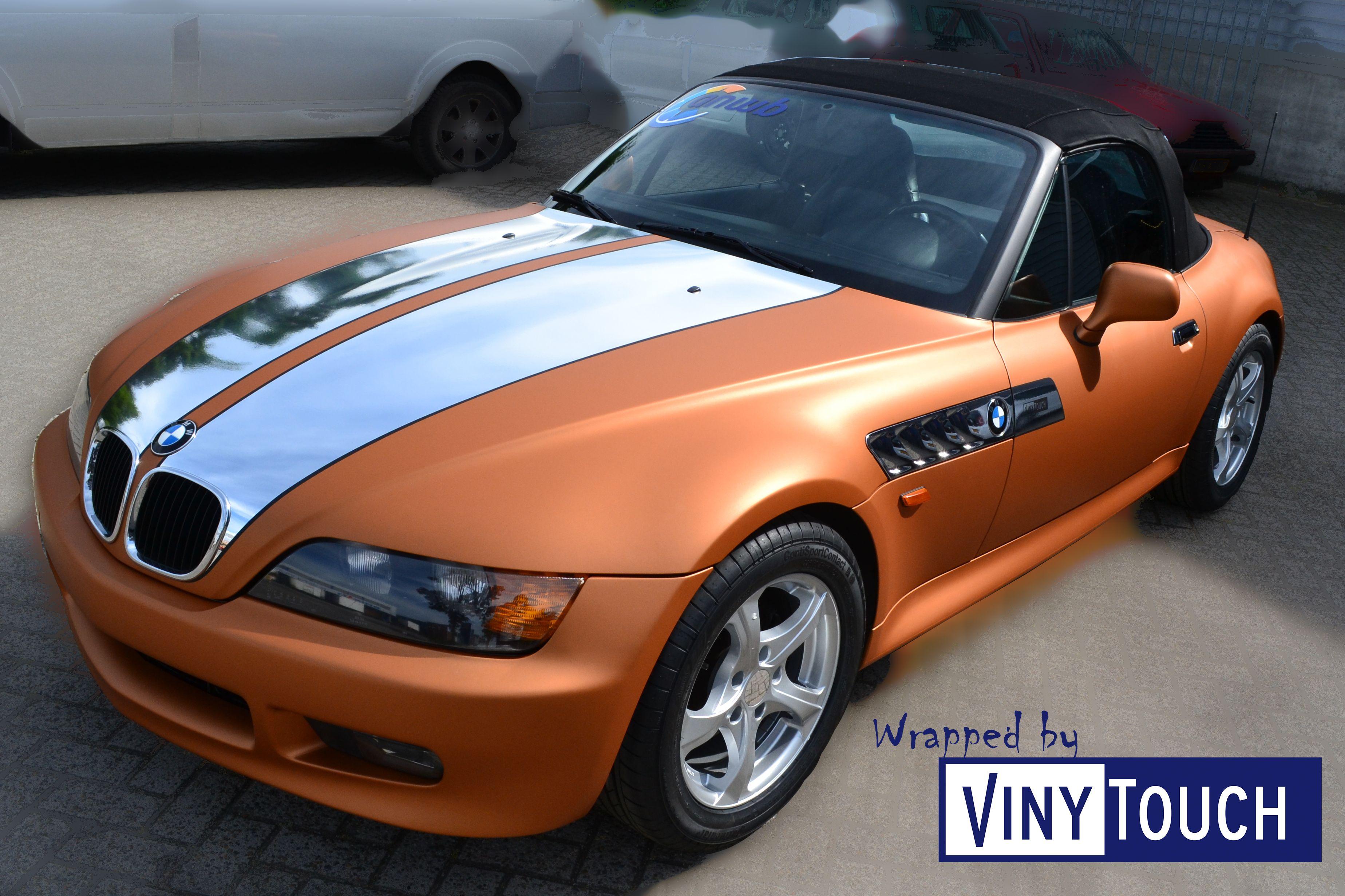Copper Matte Metallic Wrap Met Een Chrome Silver Matte Black Striping Wrapped By Vinytouch Avery Bmw Z3 Car Wrap Design Car Wrap