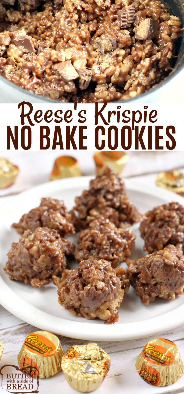 Reese's Krispie No Bake Cookies are full of chocolate
