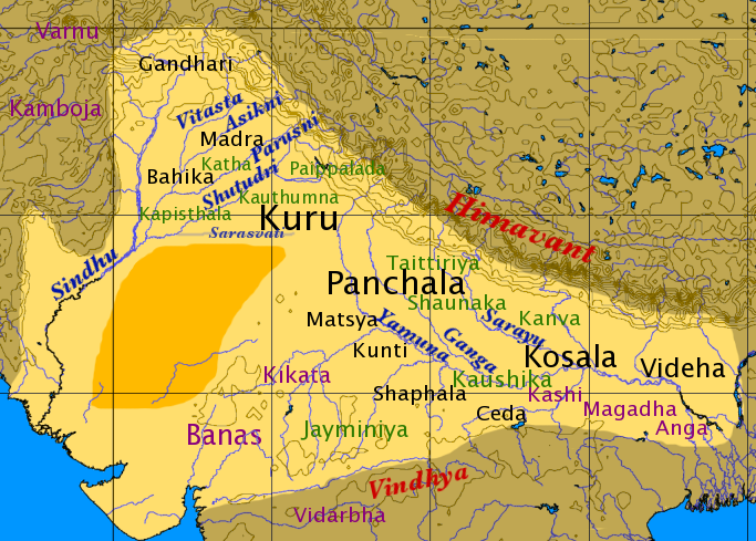Map Of Northern India In The Late Vedic Period The Location Of