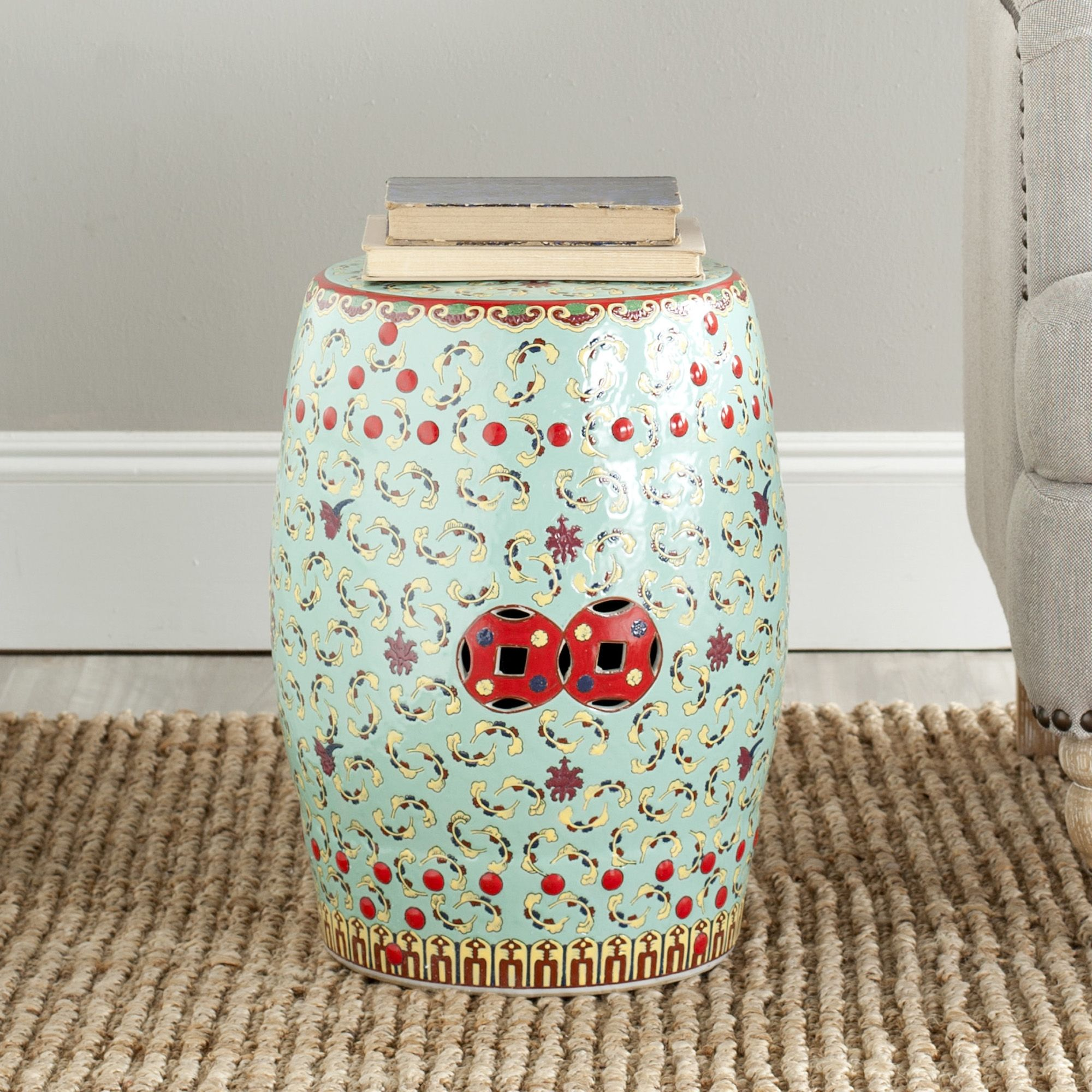 Safavieh Paradise Chinese Floral Light Blue Ceramic Garden Stool    Overstock Shopping   Great Deals On