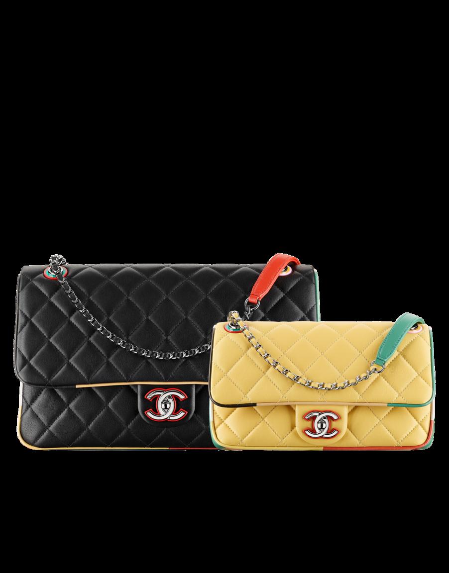 f1a22330b Bolso con solapa, piel de cordero, resina y metal plateado-negro y  multicolor - CHANEL