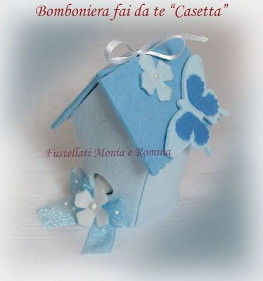 Bomboniera casetta uccellini 3d feltro fai da te bambino battesimo decorazioni e bomboniere - Decorazioni battesimo fai da te ...