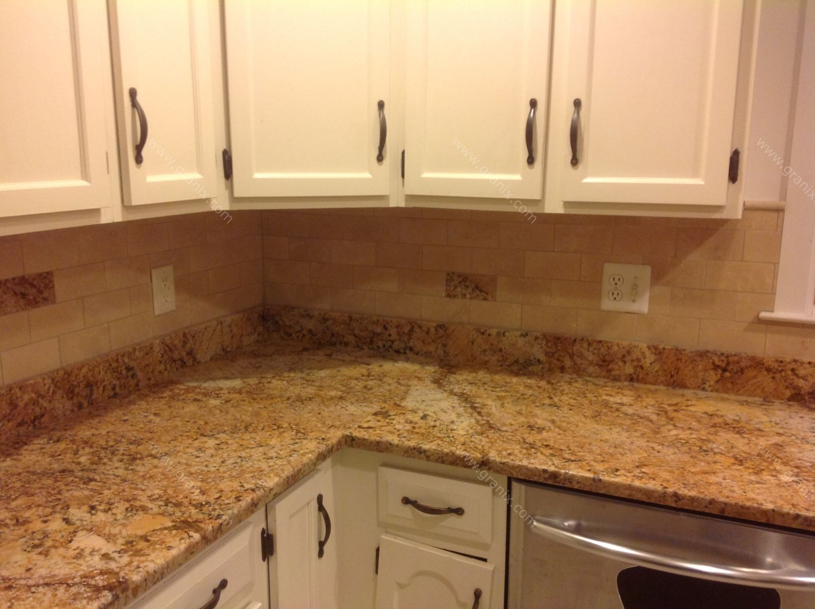 Baltic brown granite countertop pictures backsplash Tan kitchen backsplash