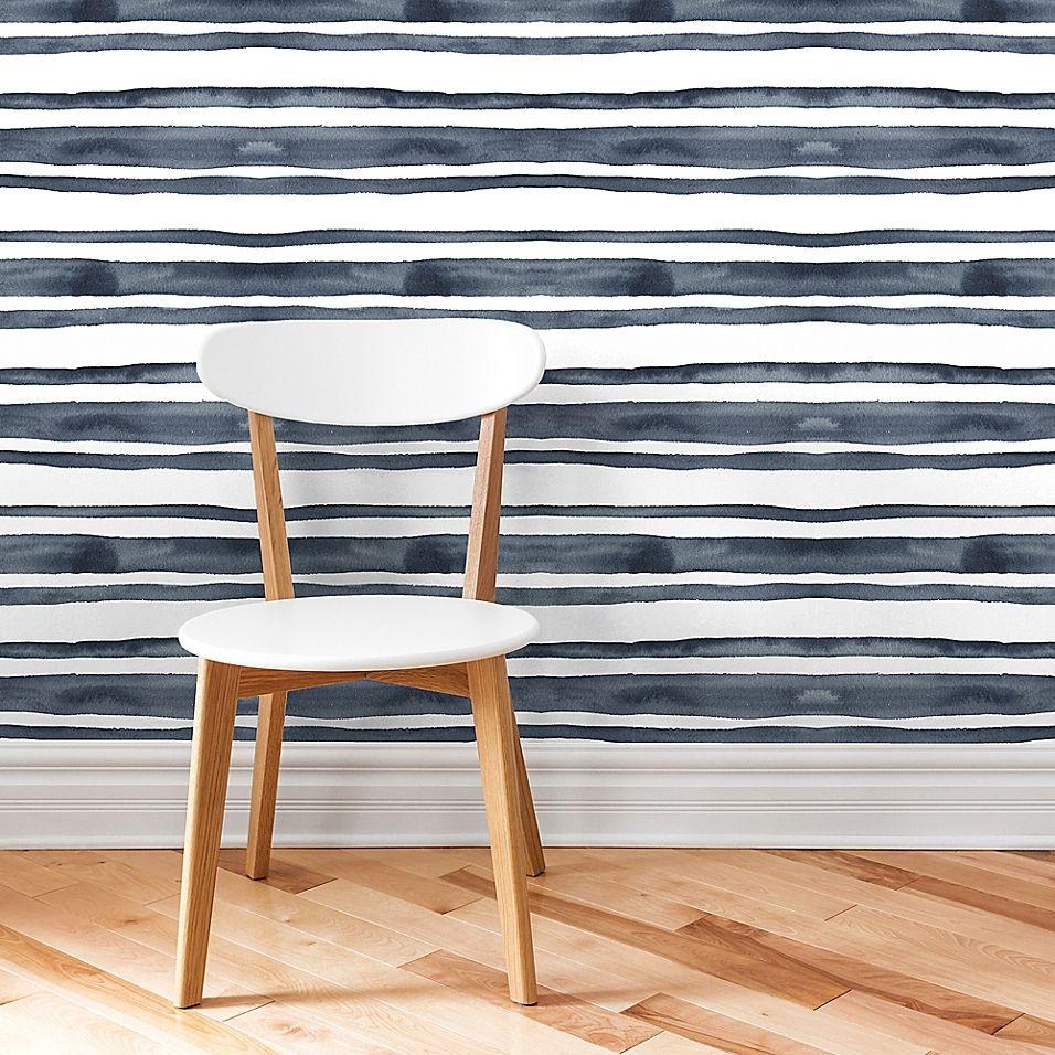 Marmalade Horizontal Stripe Peel Stick Vinyl Wallpaper In Hunter Vinyl Wallpaper Striped Wallpaper Home Decor