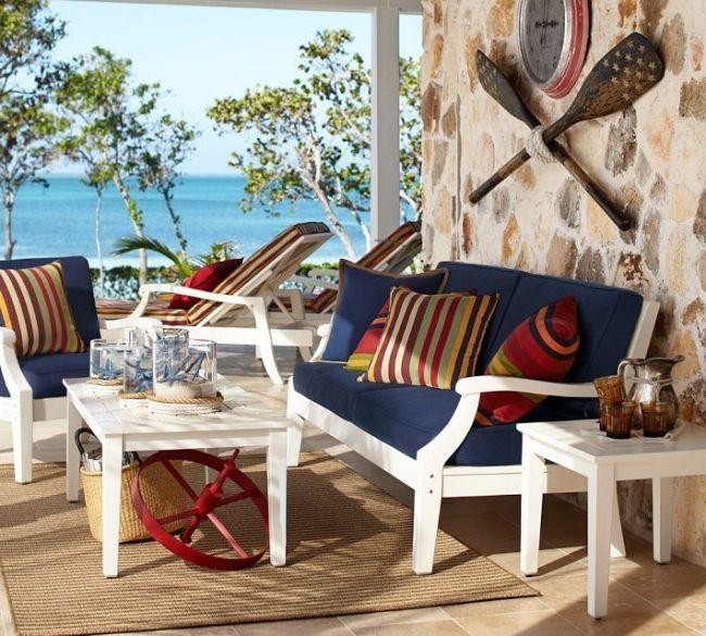 maritime deko einrichtung terrasse dunkelblau weiß rot exterieur - maritimes esszimmer einrichten