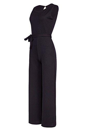 840fa5bd963151 Eleganter Laeticia Dreams Damen Overall Jumpsuit Einteiler S M L XL XXL,  Farbe:Schwarz;Größe