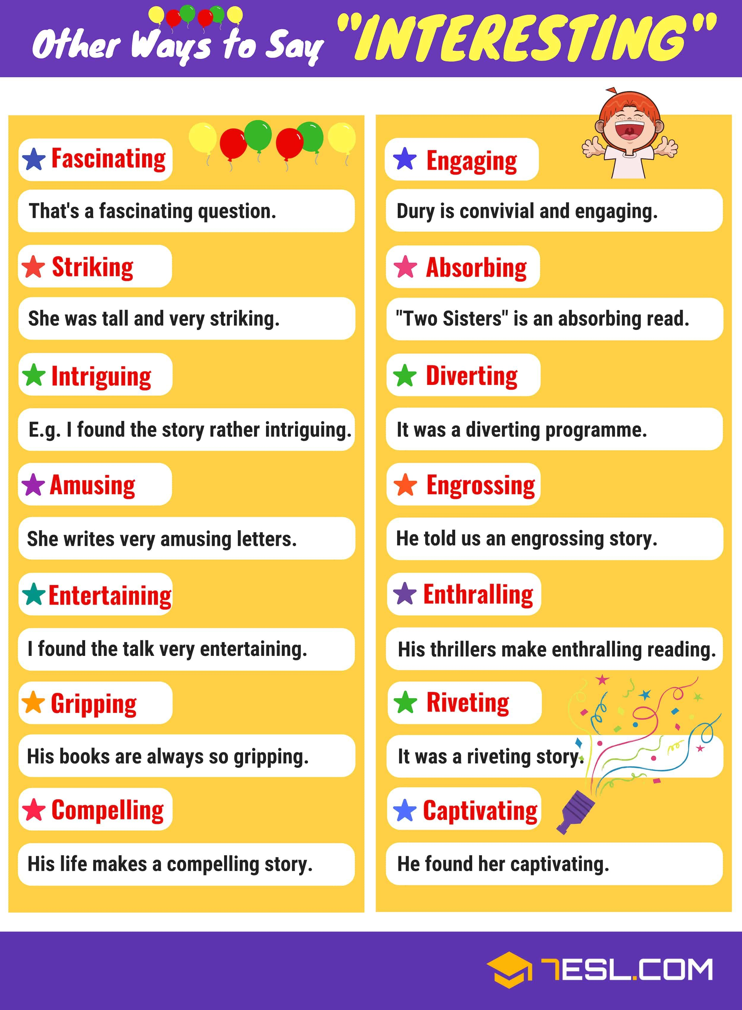 Interesting Synonyms List Of 200 Synonyms For