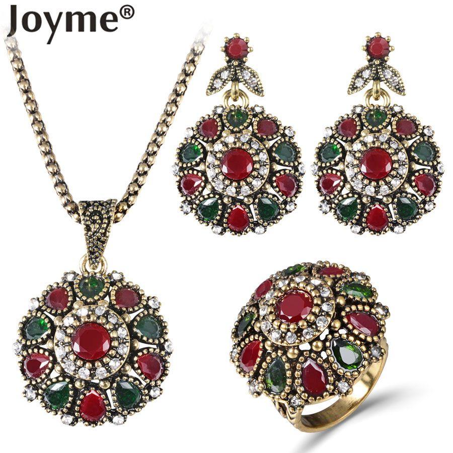 Frauen 2016 Kristall Blume Halskette Sets Fashion Earing Fashion Vintage Ethnische Schmuck Türkischen 3 Stück Nigerianischen Rote Perlenkette