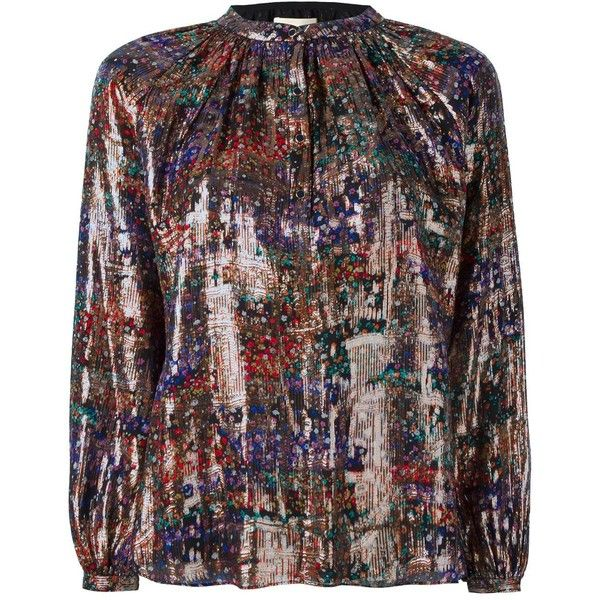 Vanessa Bruno floral metallic buttoned blouse (1.290 BRL) ❤ liked on Polyvore featuring tops, blouses, grey, vanessa bruno top, patterned tops, vanessa bruno, grey blouse and vanessa bruno blouse