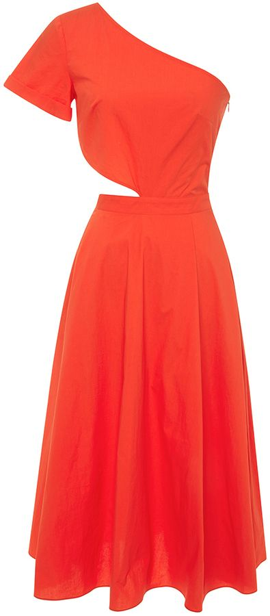 Tanya Taylor Amy One Shoulder Cut-Out Dress