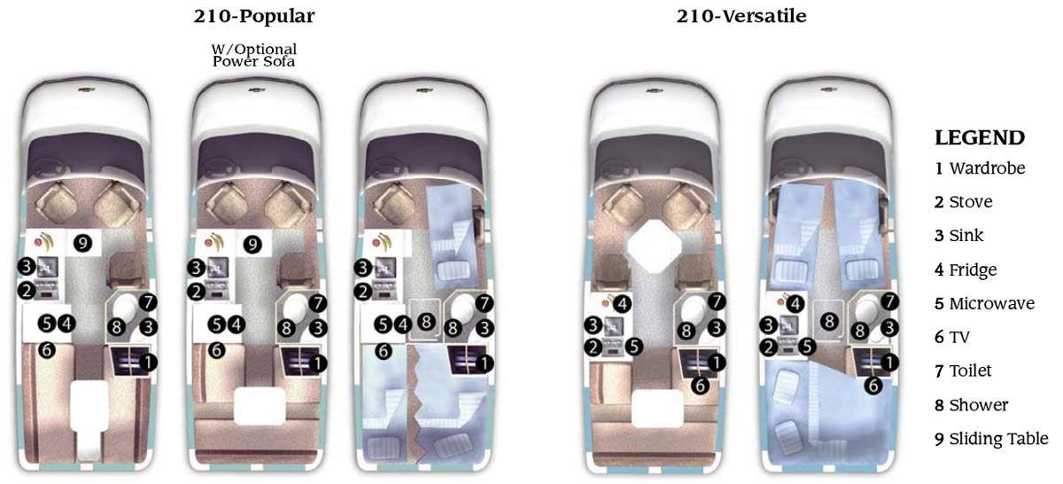 Roadtrek 210 Class B Motorhome Floorplans Larger Picture