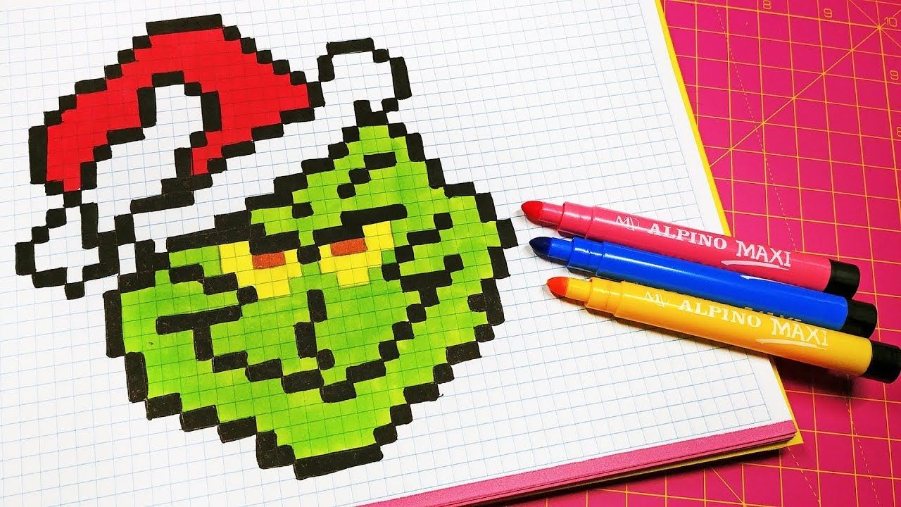 Handmade Pixel Art How To Draw A Grinch Pixelart Pixel