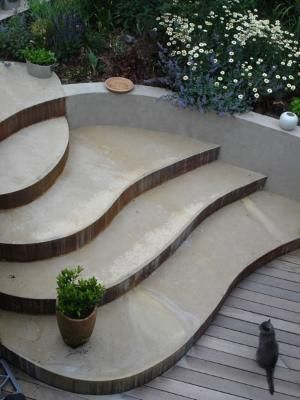 Best Concrete Steps Flowing Into The Curved Retaining Wall By 400 x 300