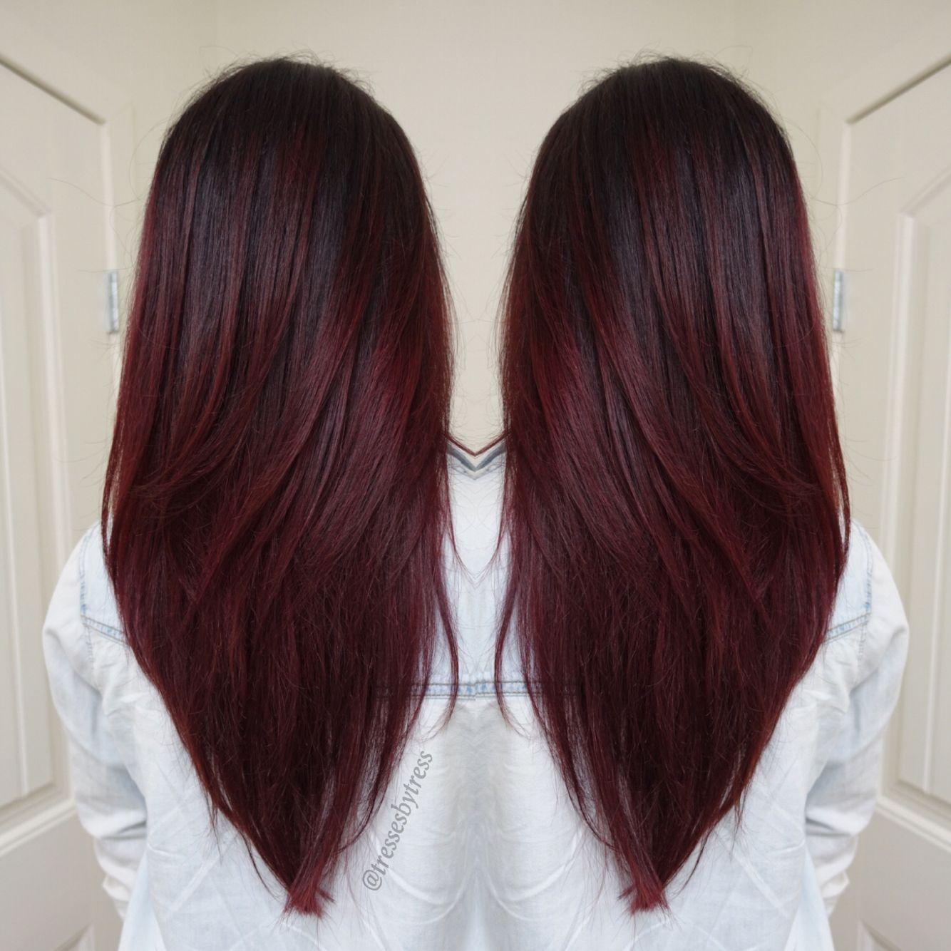 Dark Red Violet Plum Balayage Hair Pinterest Hair Hair Styles