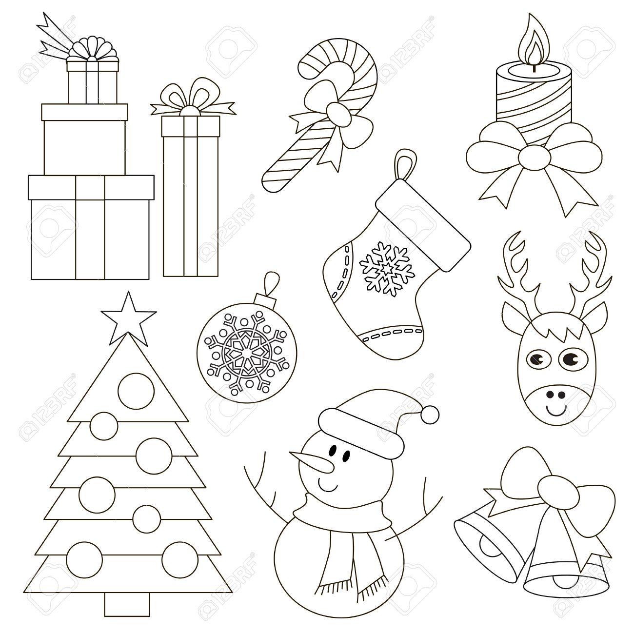 Vector Delineato Set Di Natale Da Colorare