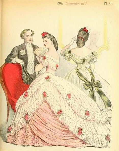1861 Fashion Plate, ballgowns